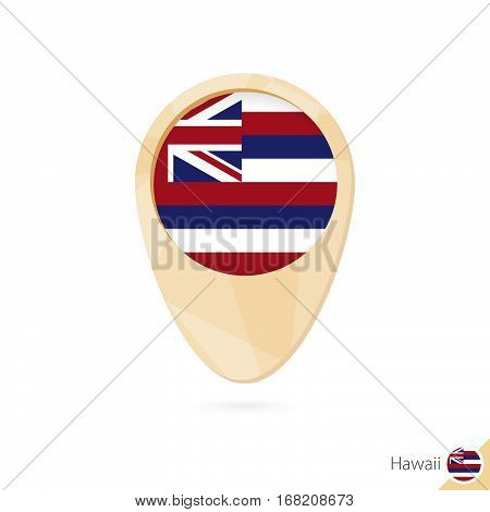 Map Pointer With Flag Of Hawaii. Orange Abstract Map Icon.