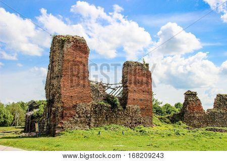 The ruins of an ancient fortress castle in Krevo Belarus