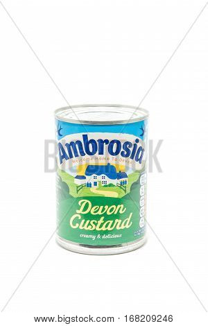 YATELEY, UK - FEBRUARY 2: Isolated tin of Ambrosia Devon Custard a popular British food brand marking its centenary of production at the Lifton Creamery Devon, UK in 2017