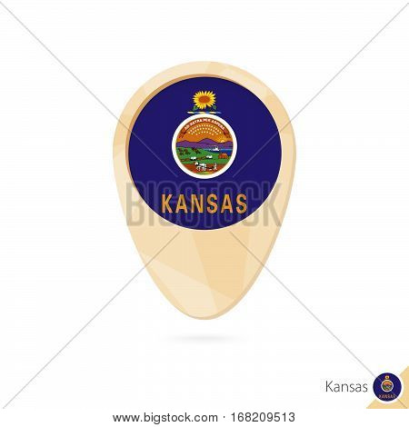 Map Pointer With Flag Of Kansas. Orange Abstract Map Icon.