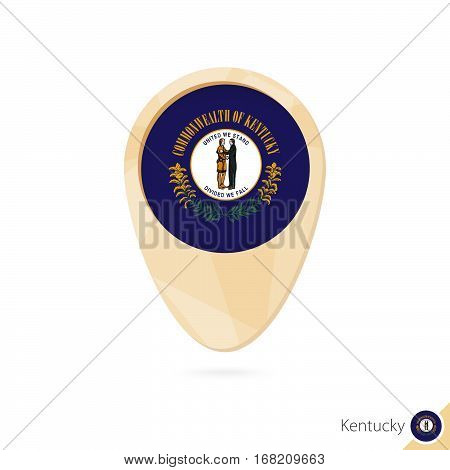 Map Pointer With Flag Of Kentucky. Orange Abstract Map Icon.