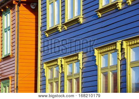 Traditional norwegian multi colored facades in Stavanger village. Tourism norway. Horizontal