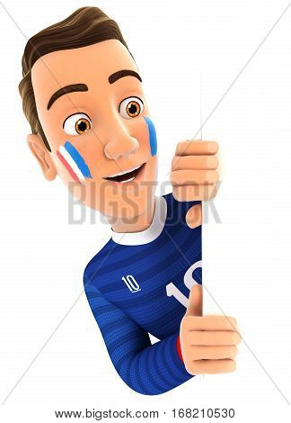 3d french soccer fan peeping over blank wall illustration with isolated white background