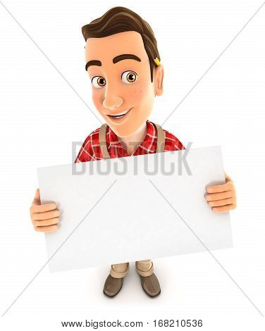 3d handyman holding a billboard illustration with isolated white background