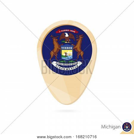 Map Pointer With Flag Of Michigan. Orange Abstract Map Icon.