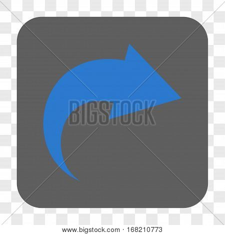 Redo interface toolbar button. Vector icon style is a flat symbol on a rounded square button blue and gray colors chess transparent background.