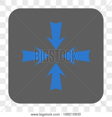 Reduce Arrows interface toolbar button. Vector icon style is a flat symbol in a rounded square button blue and gray colors chess transparent background.