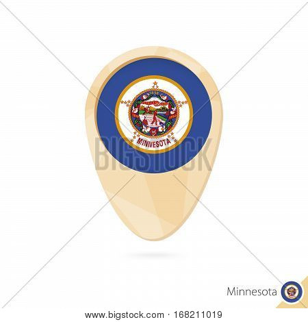 Map Pointer With Flag Of Minnesota. Orange Abstract Map Icon.