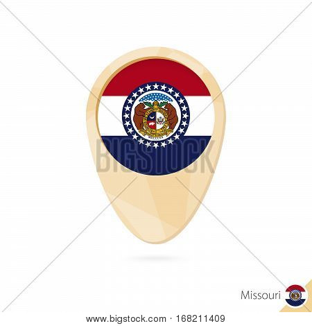 Map Pointer With Flag Of Missouri. Orange Abstract Map Icon.