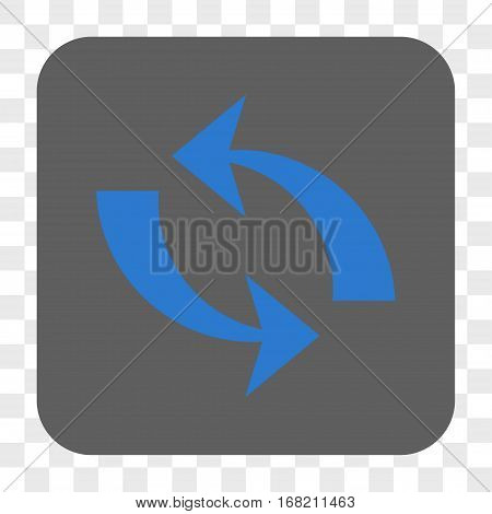 Refresh interface toolbar button. Vector icon style is a flat symbol inside a rounded square button blue and gray colors chess transparent background.