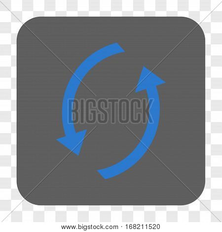 Refresh interface toolbar button. Vector icon style is a flat symbol on a rounded square button blue and gray colors chess transparent background.