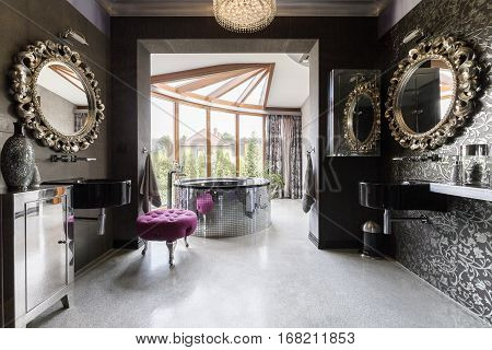 Luscious Bathroom With Silver Accents