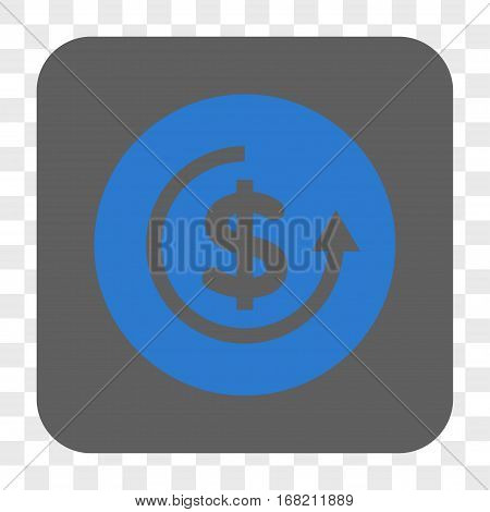 Refund interface toolbar button. Vector icon style is a flat symbol on a rounded square button blue and gray colors chess transparent background.