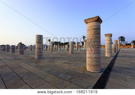 Columns in front of the Mausoleum of King Mohamed V, Rabat, Africa