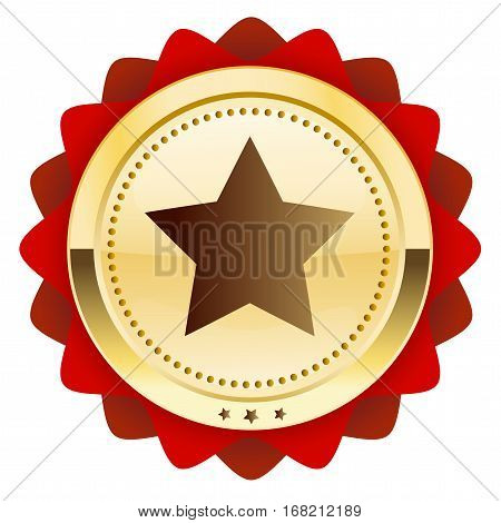 Finest quality seal or icon with star symbol. Glossy golden seal or button with star and red color.