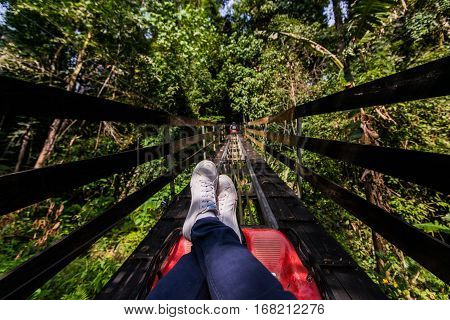 leg of man sitting relaxing on roller coaster at green forest park.