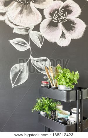 Chalky Flowers On The Wall