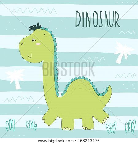 Cute hand drawn dinosaur illustration. vector print.