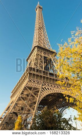 The Eiffel tower is one of the most visited monuments in the world located on Champs de Mars in Paris France.