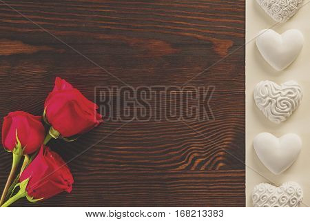 Red Roses And Gypsum Hearts