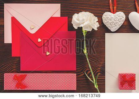 Decorative Envelopes And White Carnation
