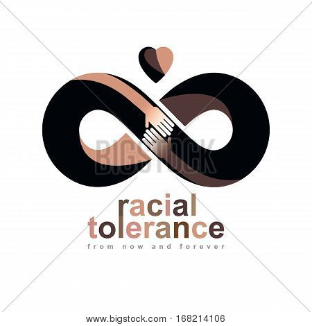 Racial Tolerance between different Nations conceptual symbol Martin Luther King Day Zero tolerance vector symbol created with infinity loop sign and two hands of people of different races touching and reaching each other.