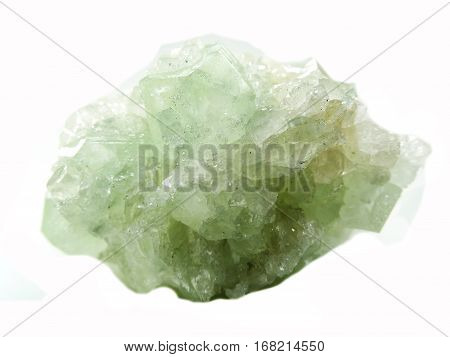 green apophyllite semigem geode crystals geological mineral isolated