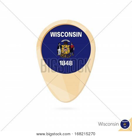 Map Pointer With Flag Of Wisconsin. Orange Abstract Map Icon.