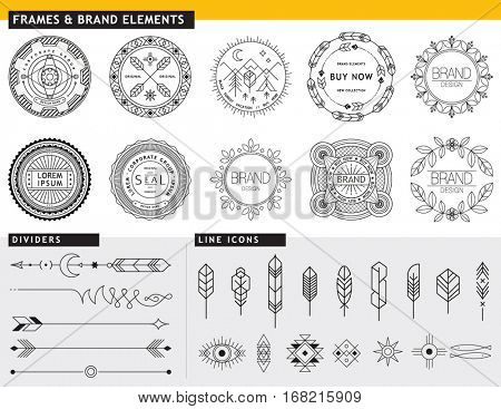 DESIGN ELEMENTS TEMPLATES FOR YOUR BRANDING PROJECTS. Arrows, labels, ribbons, calligraphy swirls, ornaments, symbols, icons, dividers and other. Logo design. Geometric lines style. Editable vector.