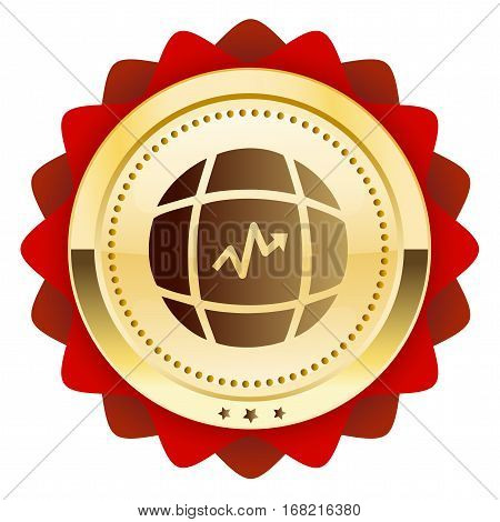 global trading seal or icon with arrow symbol. Glossy golden seal or button red color.