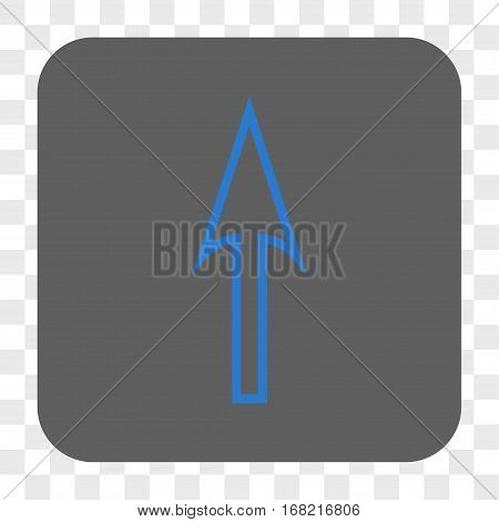 Sharp Arrow Up interface toolbar button. Vector icon style is a flat symbol inside a rounded square button blue and gray colors chess transparent background.