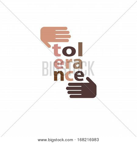 Racial Tolerance concept. Hands of Caucasian and African ethnicities vector icon isolated on white.