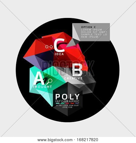 Vector abstract colorful polygonal infographics