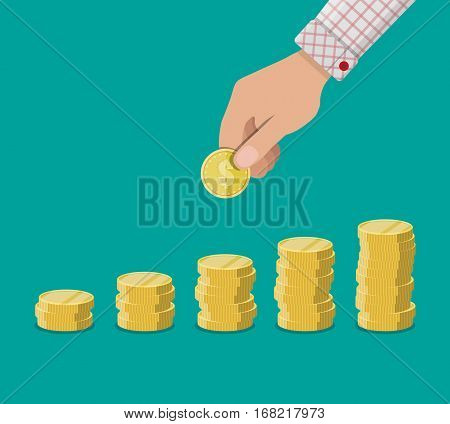 Buisness man hand hold gold coin and growth stacks with coins. vector illustration in flat design.