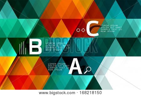 Vector geometric infographic triangles with option letters