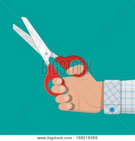Hand holding scissors. vector illustration in flat style