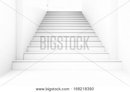 Conceptual whit blank staircase go to light at the end for success concept background