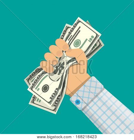 Hand of businessman squeezes dollar bill. vector illustration in flat design on green backgound.