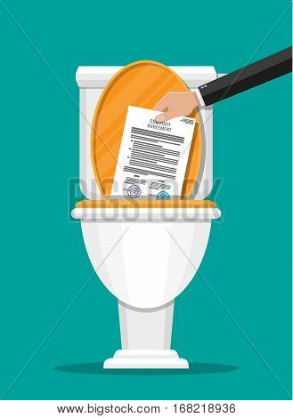 Businessman hand putting contract papers in toilet. Contract termination. Vector illustration in flat style