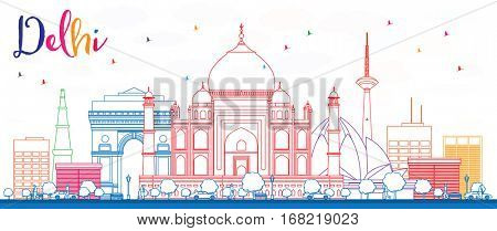 Outline Delhi Skyline with Color Buildings. Vector Illustration. Business Travel and Tourism Concept with Historic Buildings. Image for Presentation Banner Placard and Web Site