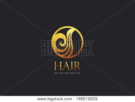 Hair LOGO DESIGN, GOLD TEXTURE ON BLACK BACKGROUND
