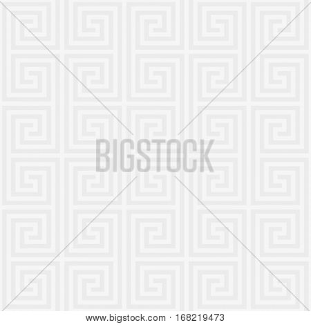 White Classic meander seamless pattern. Greek key neutral tileable linear vector background.