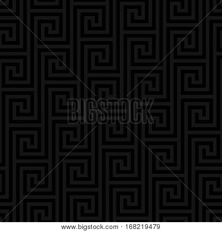 Black Classic meander seamless pattern. Greek key neutral tileable linear vector background.