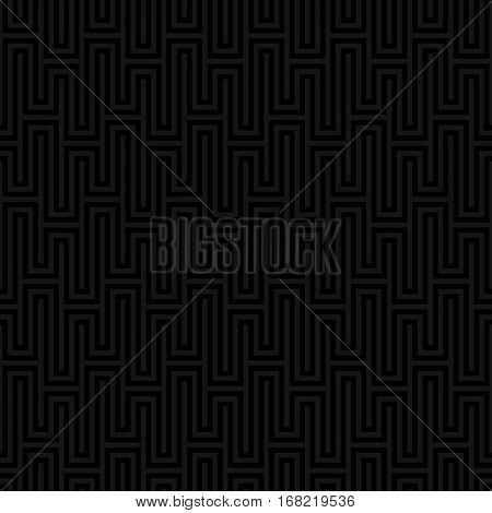 Black Waveform seamless pattern.Neutral tileable linear vector background.