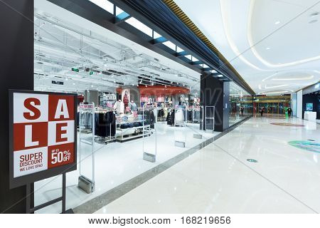 hangzhou,china:corridor with sign of sale in modern shopping mall on Jan 12 2017