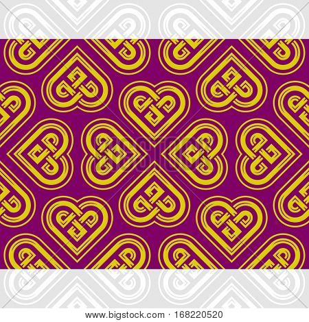 Celtic heart shape vector seamless pattern. Endless texture in purple and golden color. Valentines day background for invitation, scrapbooking, cards, posters