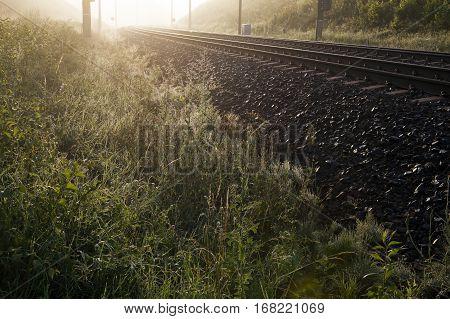 Sunrise lightening up dark foggy morning field and railroad track.