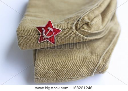 Soviet Soldier field cap with a red star