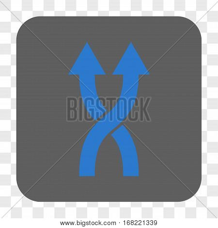 Shuffle Arrows Up interface toolbar button. Vector icon style is a flat symbol on a rounded square button blue and gray colors chess transparent background.
