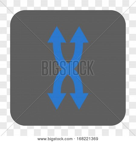 Shuffle Arrows Vertical interface toolbar button. Vector icon style is a flat symbol in a rounded square button blue and gray colors chess transparent background.